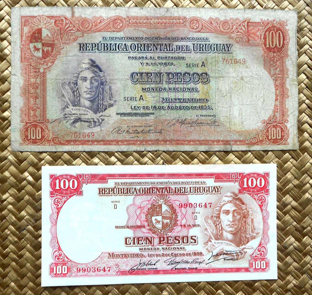 Uruguay 100 pesos 1935 vs. 100 pesos 1967 anversos