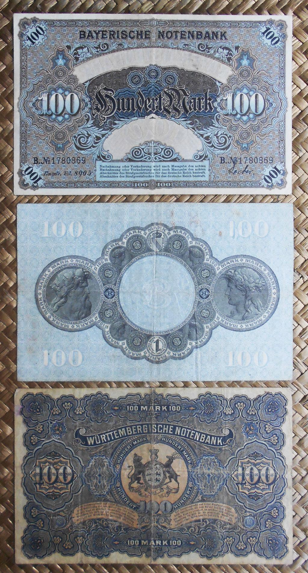Alemania 100 mark 1900-1907-1911 Bayerische-Badische-Wurttemberg Notenbank reversos