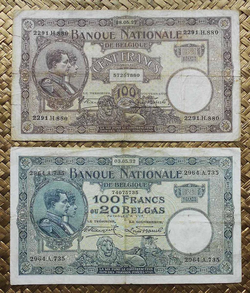 Bélgica 100 francos 1927 vs 100 francos-20 belgas 1932 anversos