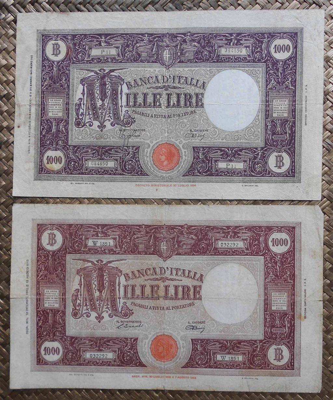Italia 1000 liras Barbetti M Grande edic. 1943 y 1946 anversos