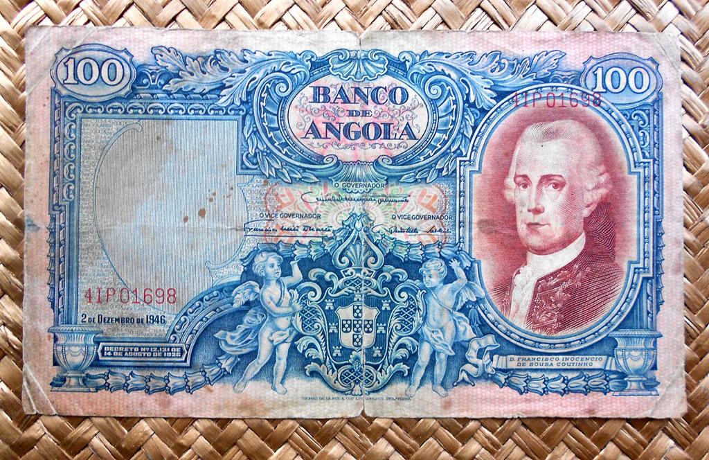 Angola colonial portuguesa 100 angolares 1946 anverso