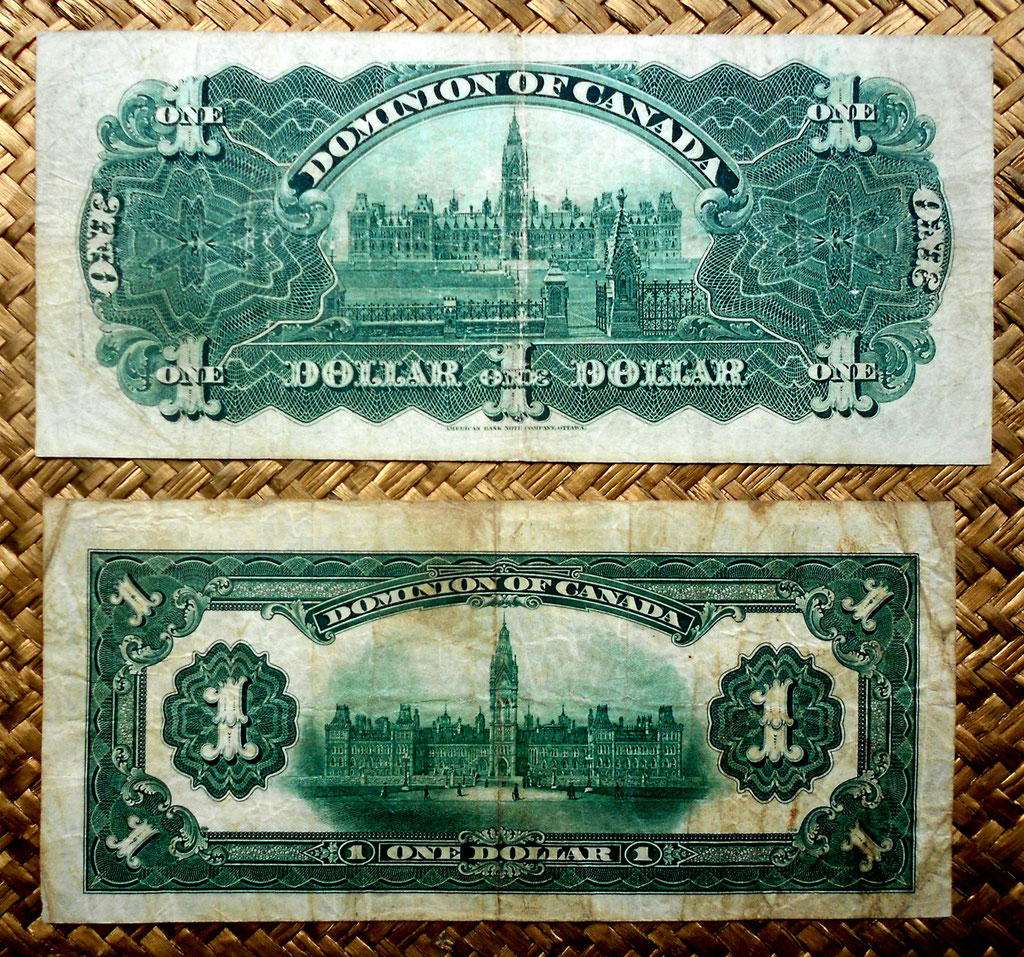 Canada -Dominion of Canada 1 dolar 1898 vs. 1 dolar 1917 reversos