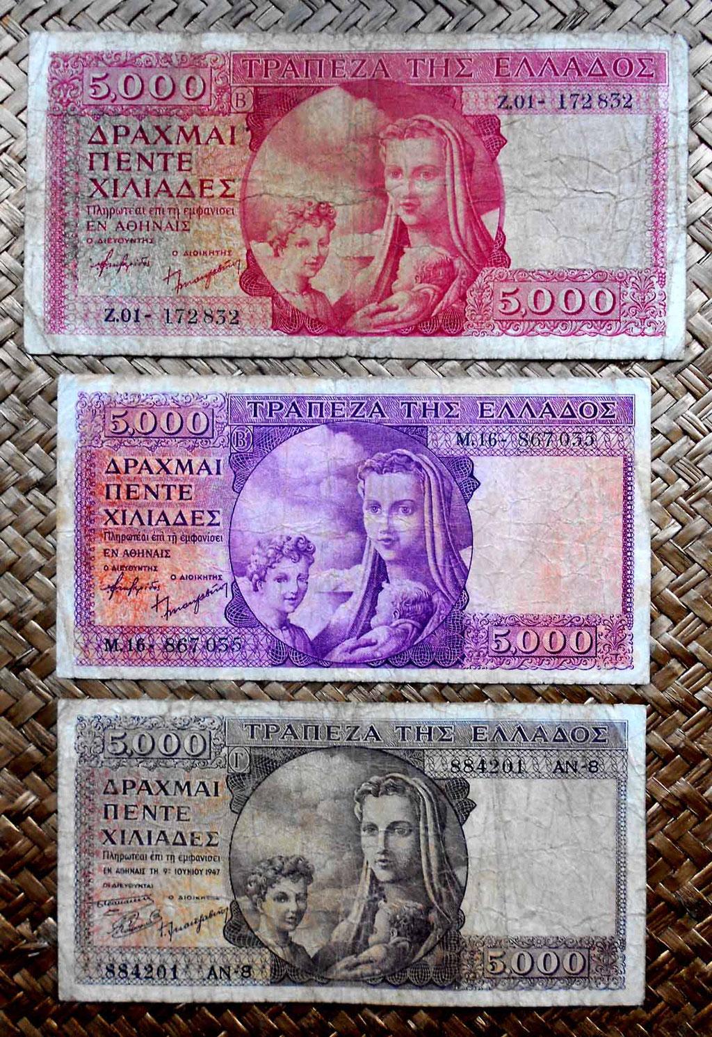 Grecia 5000 dracmas 1945 vs. 5000 dracmas 1947 vs. 5000 dracmas jun-1947 anversos