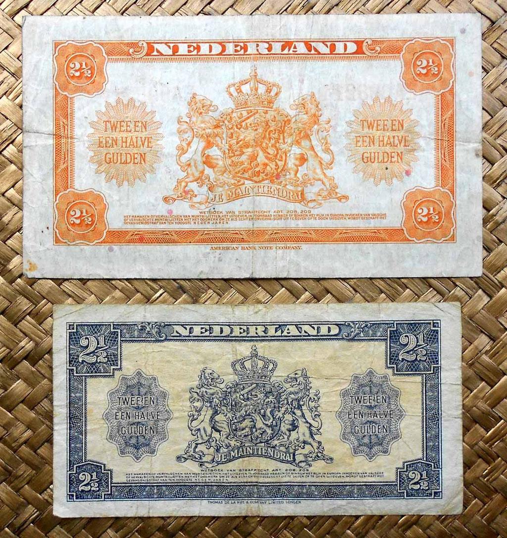 Holanda 2,5 gulden 1943 vs. 2,5 gulden 1945 reversos