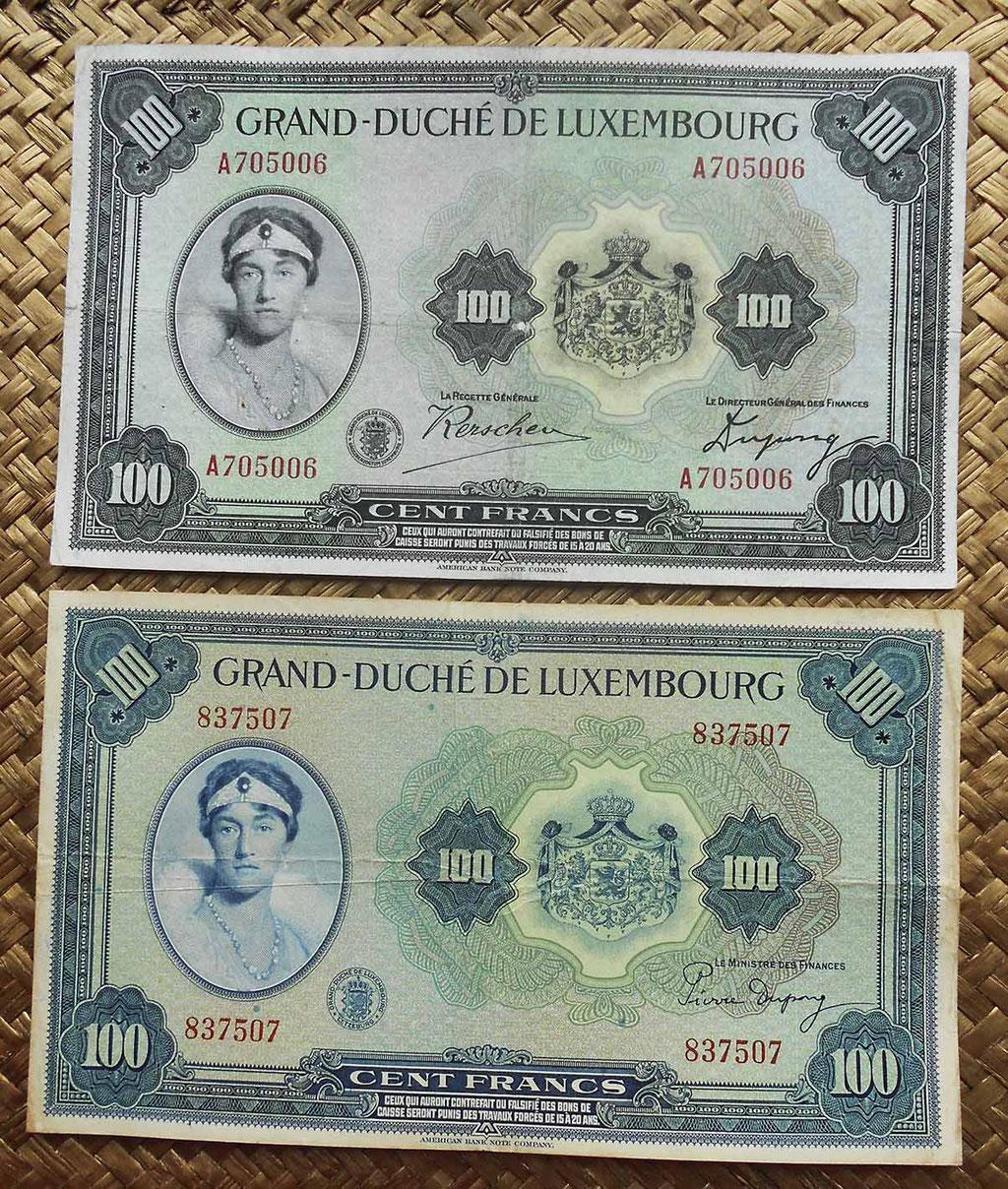 Luxemburgo 100 francos 1934 vs. 100 francos 1944 anversos