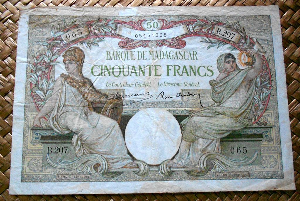 Madagascar colonial 50 francos 1937 anverso
