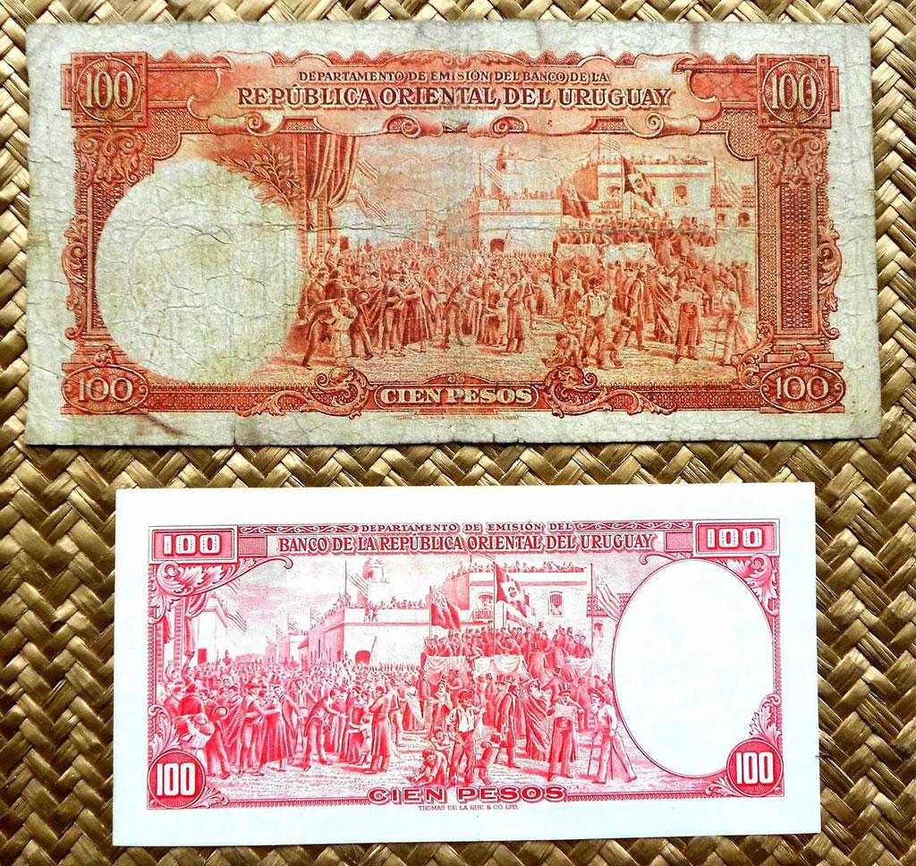Uruguay 100 pesos 1935 vs. 100 pesos 1967 reversos