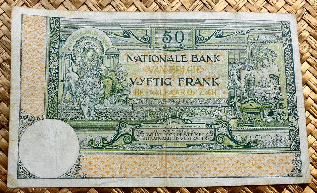 Bélgica 50 francos 1919 reverso