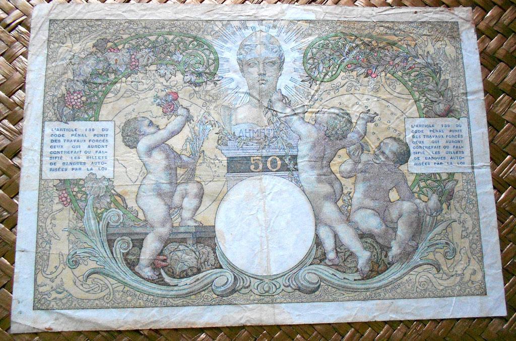 Madagascar colonial 50 francos 1937 reverso