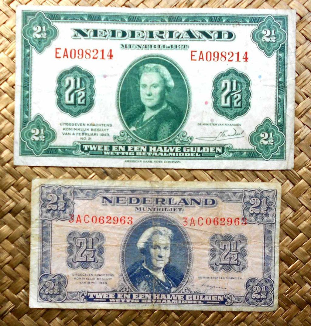 Holanda 2,5 gulden 1943 vs. 2,5 gulden 1945 anversos
