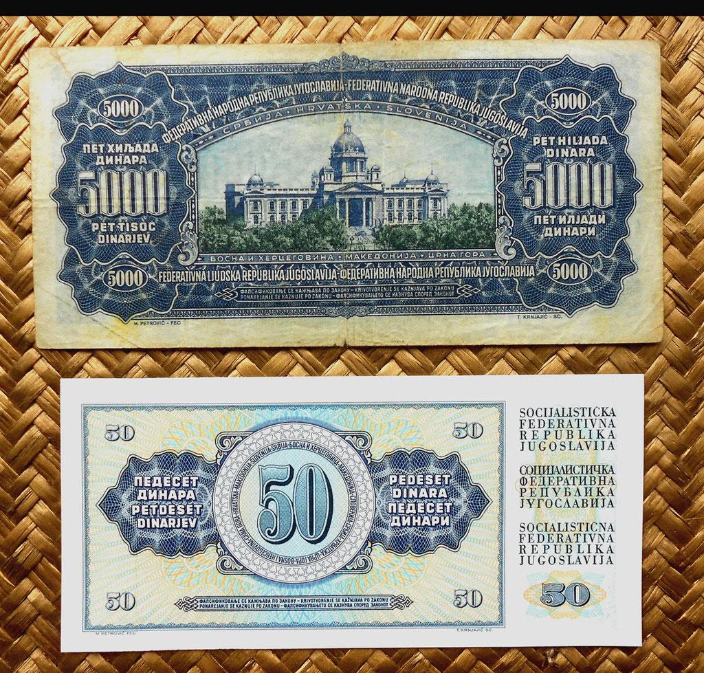Yugoslavia 5000 dinares 1955 vs 50 dinares 1978 reversos