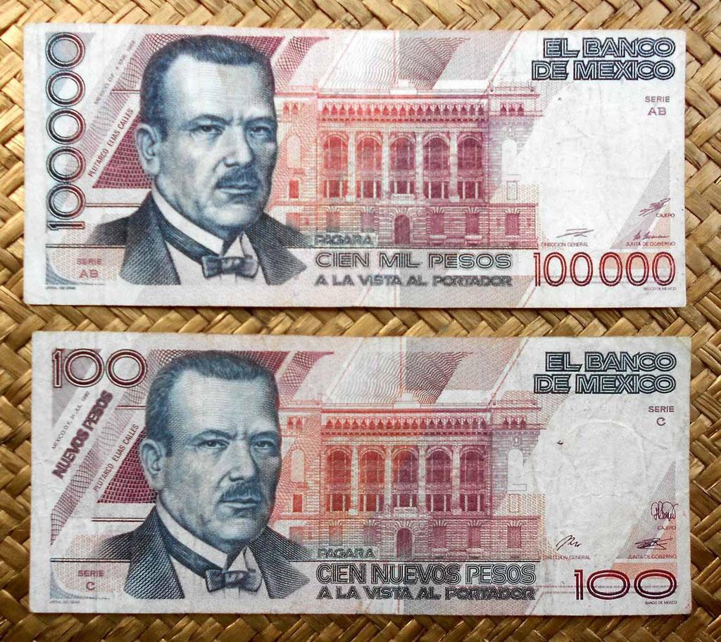 México 100.000 pesos 1988 vs. 100 nuevos pesos 1992 anversos