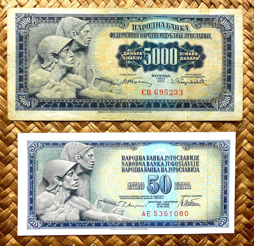 Yugoslavia 5000 dinares 1955 vs 50 dinares 1978 anversos