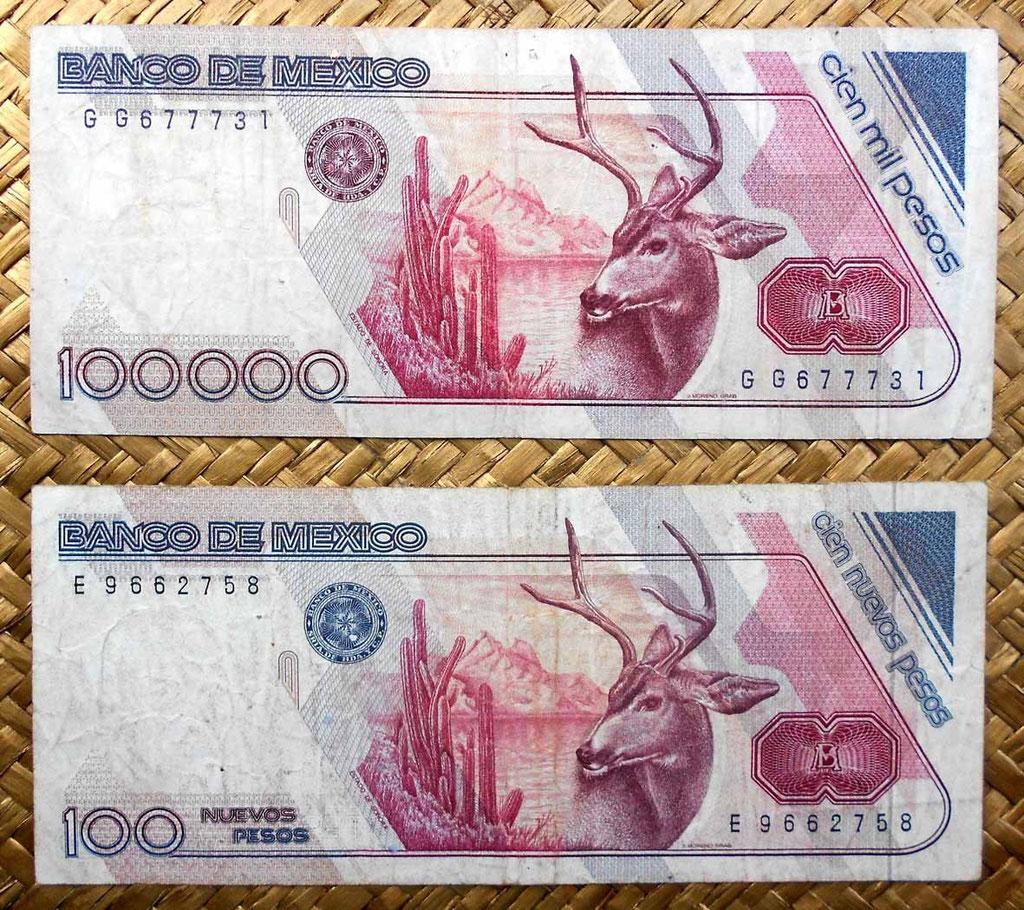México 100.000 pesos 1988 vs. 100 nuevos pesos 1992 reversos