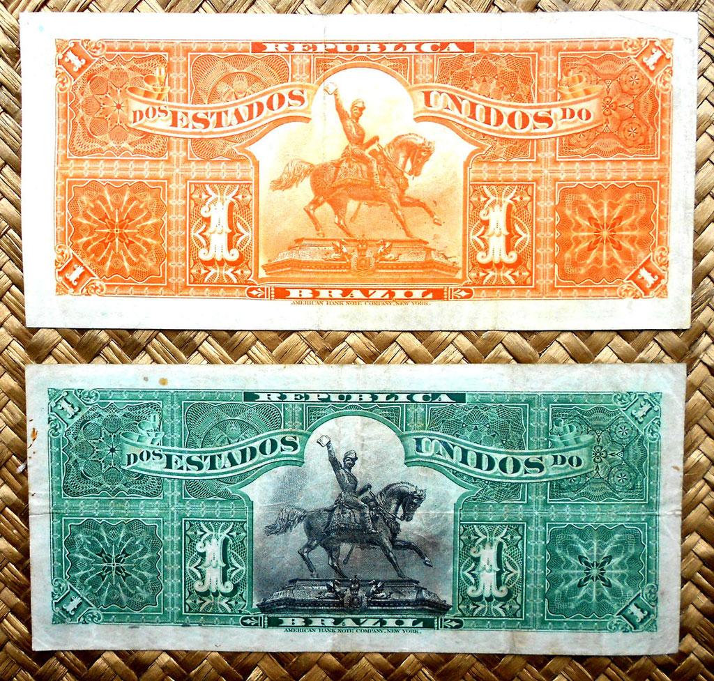 Brasil 1 mil reis 1917 vs. 1 mil reis 1891 reversos