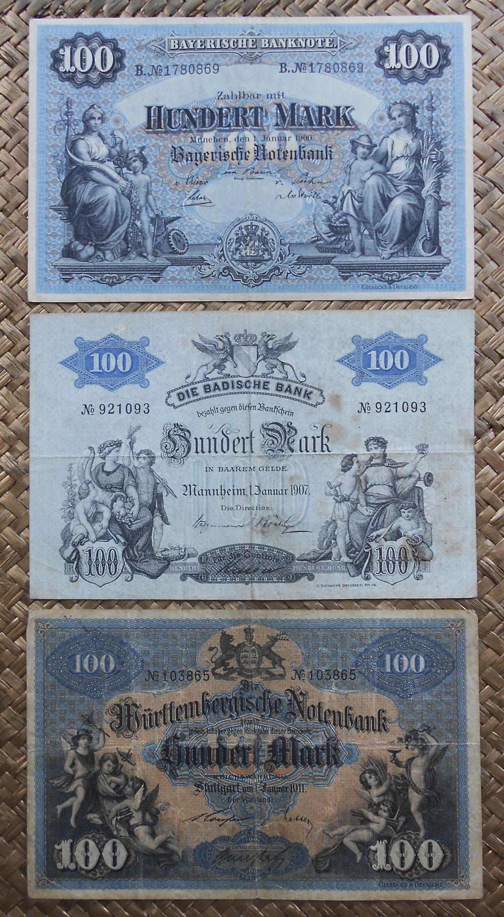 Alemania 100 mark 1900-1907-1911 Bayerische-Badische-Wurttemberg Notenbank anversos