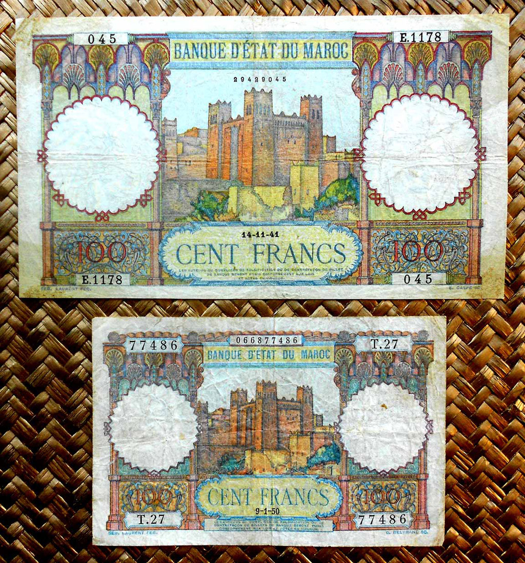 Marruecos colonial 100 francos 1941 vs. 100 francos 1950 anversos