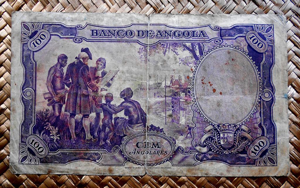 Angola colonial portuguesa 100 angolares 1946 reverso