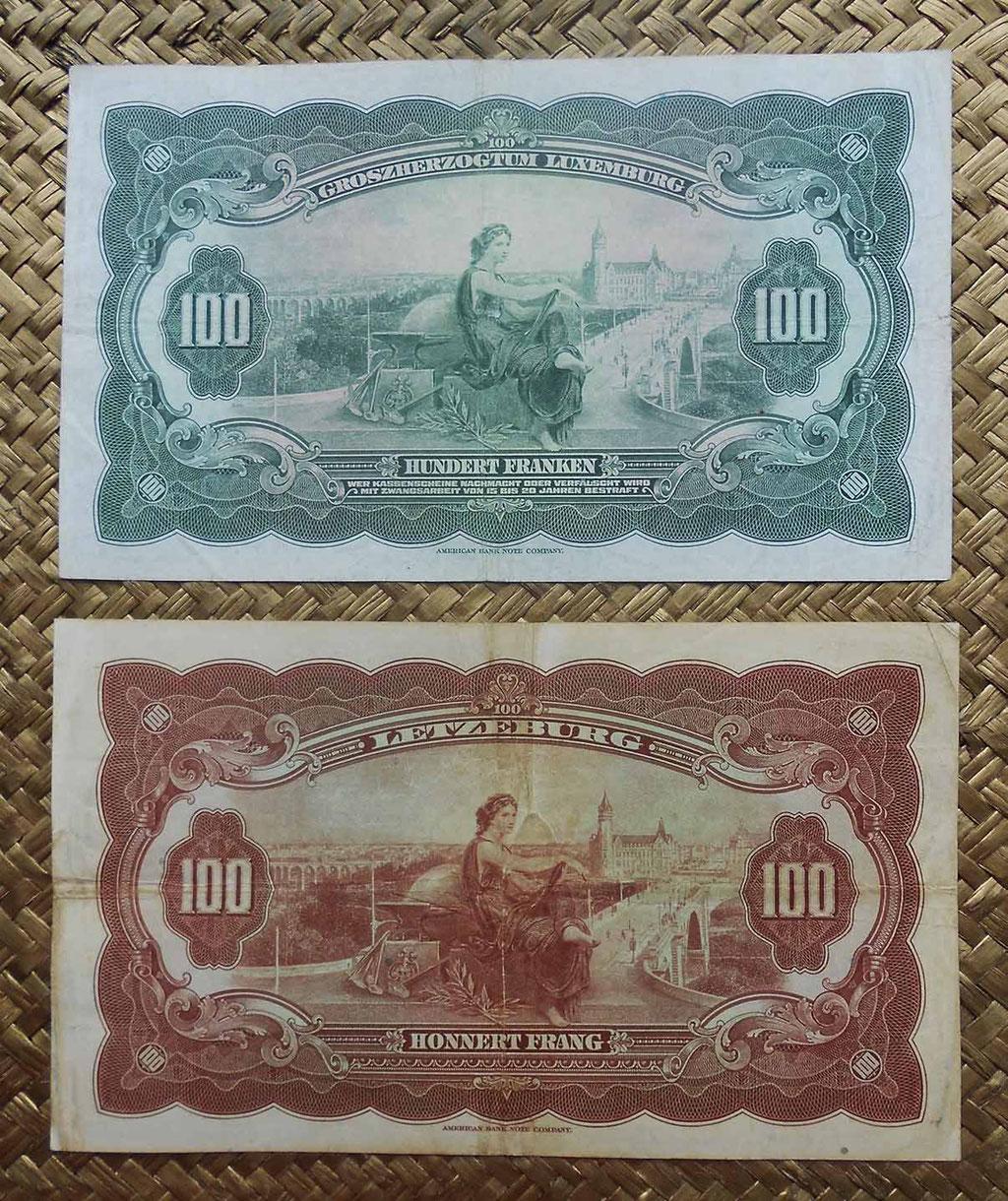 Luxemburgo 100 francos 1934 vs. 100 francos 1944 reversos