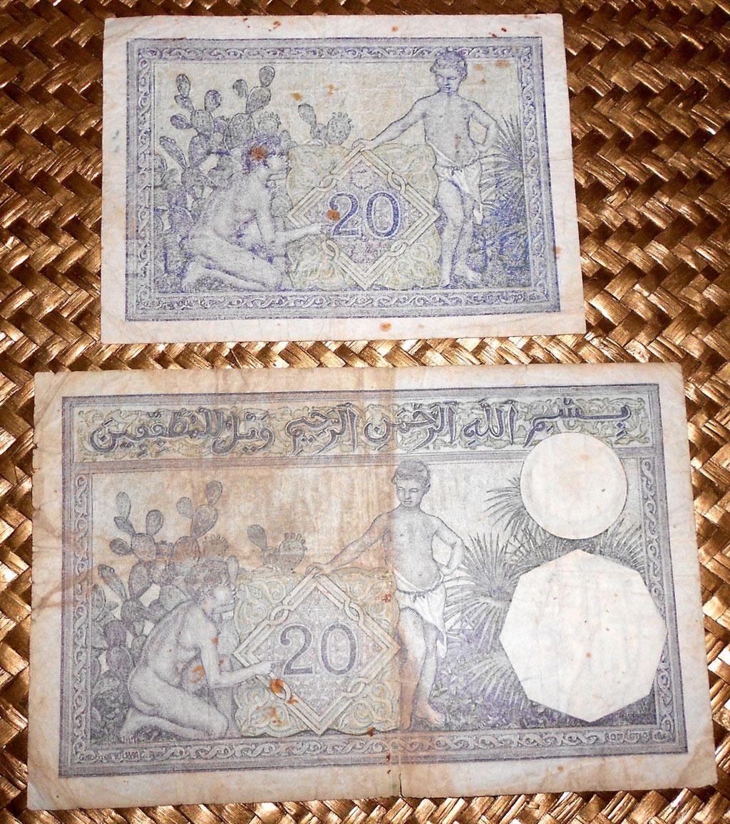 Argelia 20 francos 1944 vs. 1941 reversos