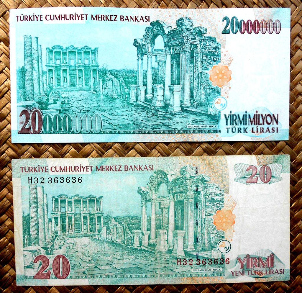 Turquía, 20.000.000 liras de 1988 vs. 20 liras de 1992 reversos
