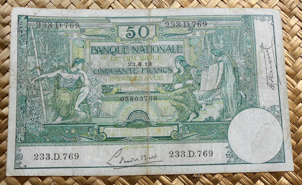 Bélgica 50 francos 1919 anverso