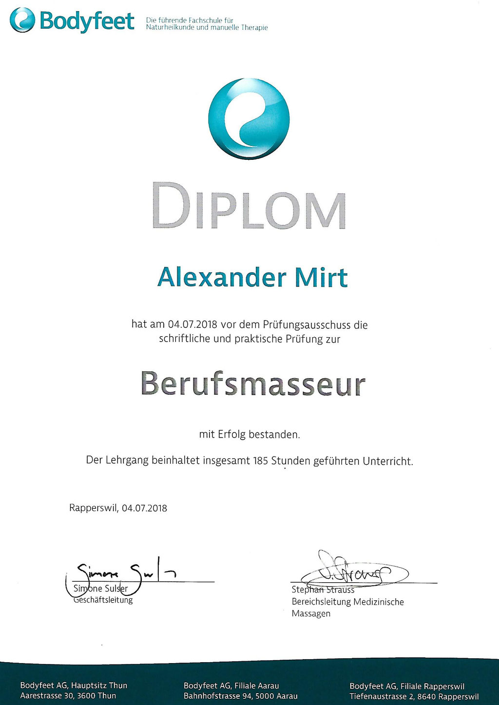 Diplom - Berufsmasseur