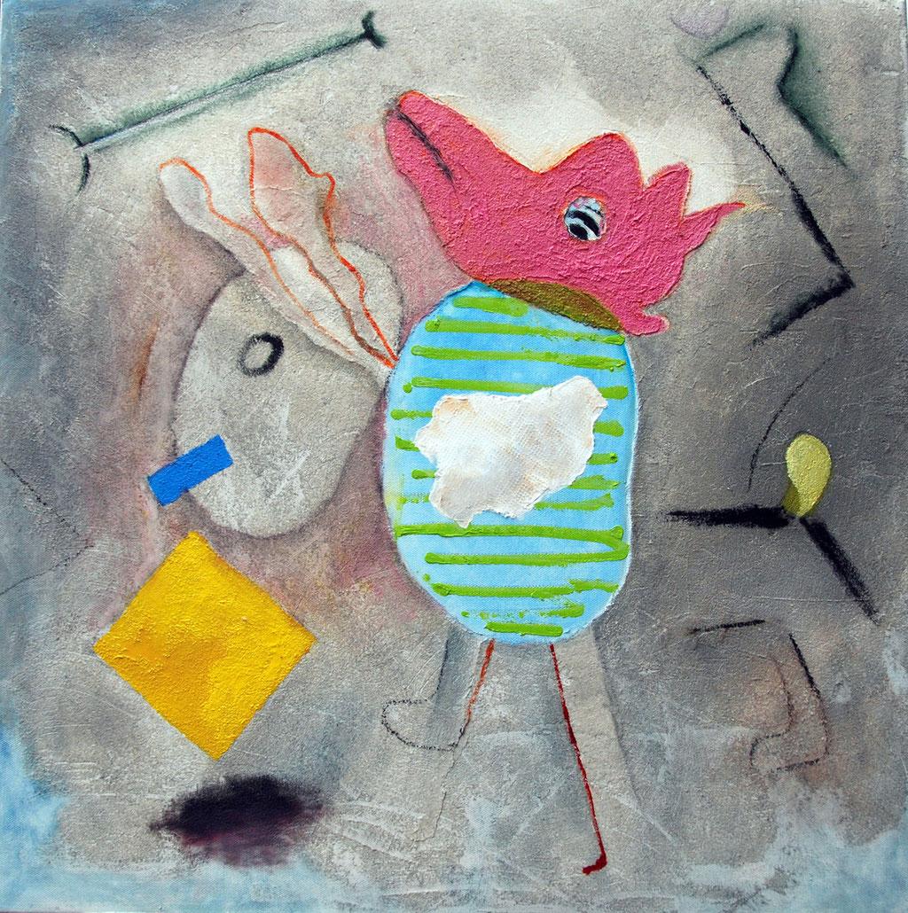 """""""Herrchen"""", Acryl auf Leinwand, 60 x 60 cm"""