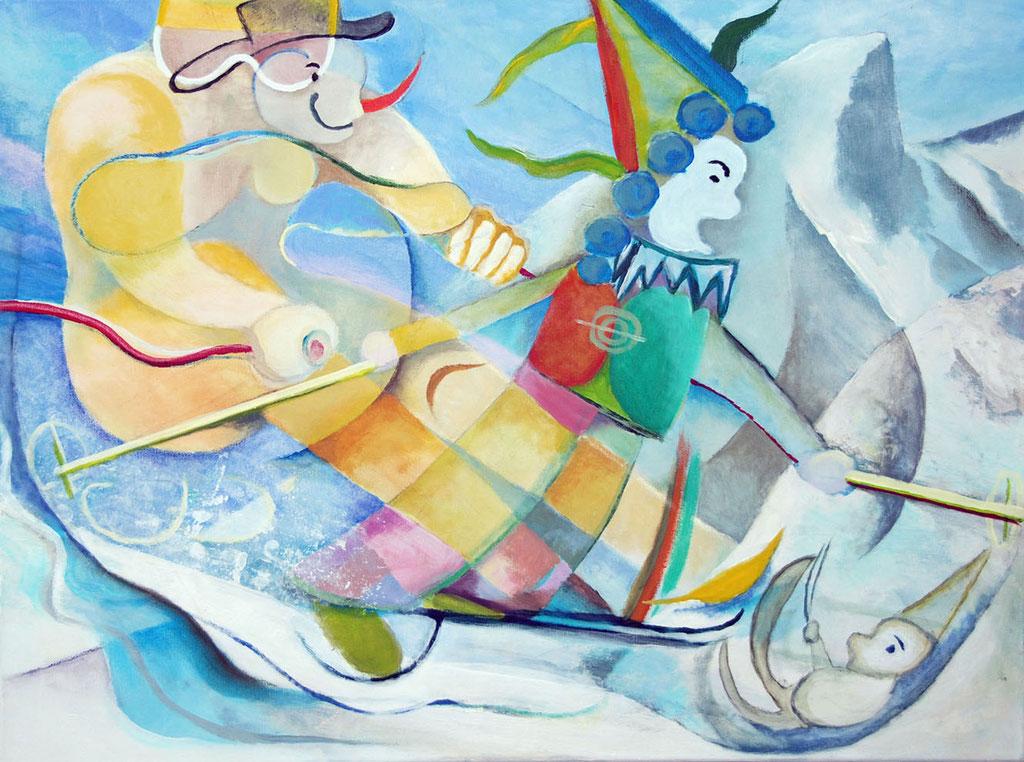 """""""Skifasching"""", Acryl auf Leinwand, 80 x 60 cm"""