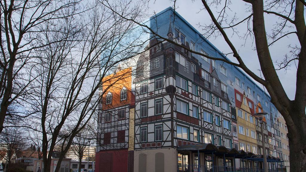 folien-fabrik / Plattenbau - Fachwerkfassade  / Fassadengestaltung