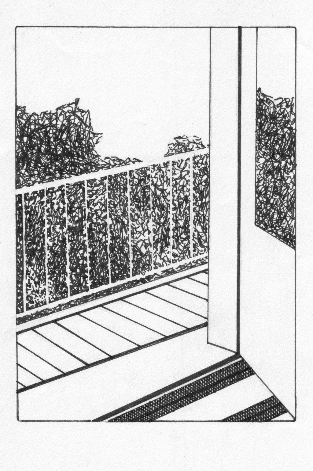 balcony (Vienna), ink on paper, 15x10,7cm