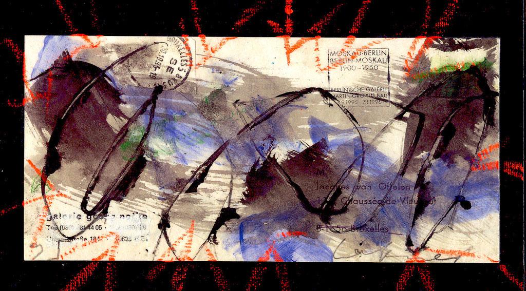 Pedro Meier Artist – Übermalte Brief – Ölstift 2010 – Foto © Pedro Meier / ProLitteris Multimedia Artist – Atelier: Gerhard Meier Weg Niederbipp – Olten – Bangkok