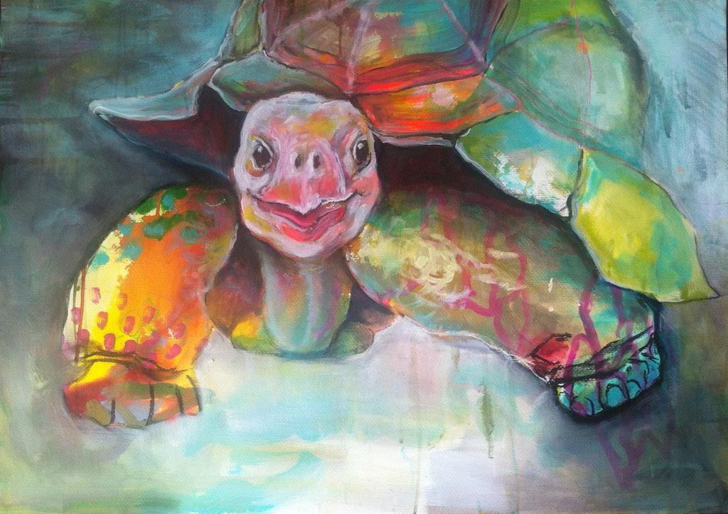 Die Traumfrau -  Mischtechnik auf Acrylkarton   60x84 cm