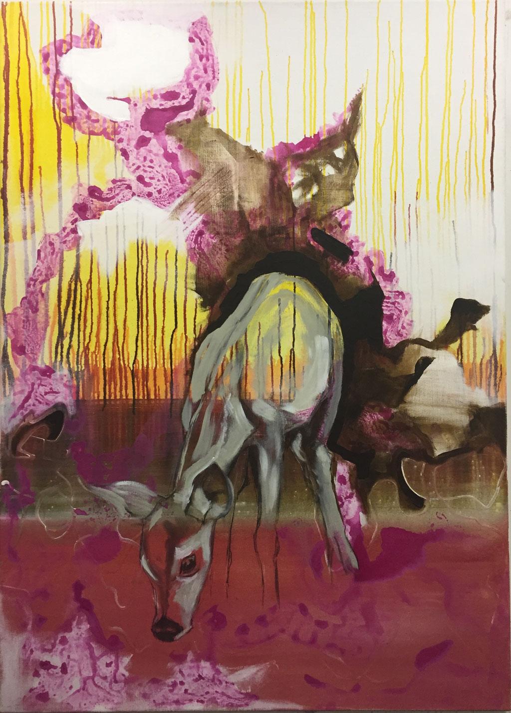 Hinterhalt -  Acryl auf Leinwand  140 cm x 100 cm