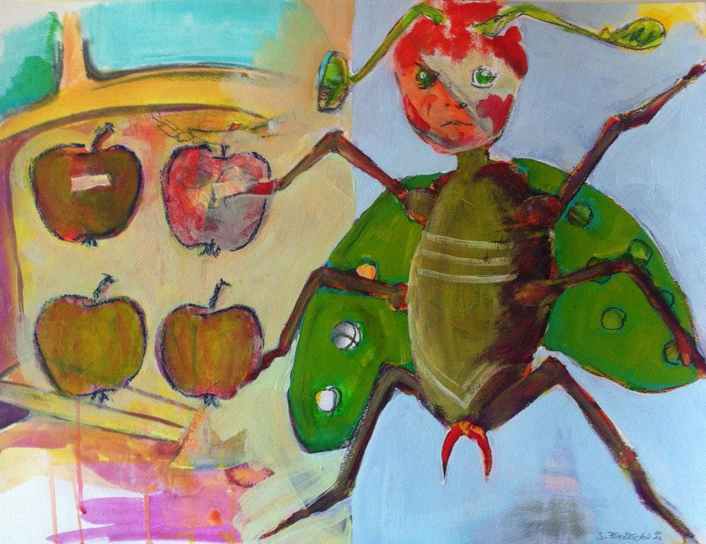 Freche Fruchtfliege -  Mischtechnik auf Acrylkarton   50x65 cm