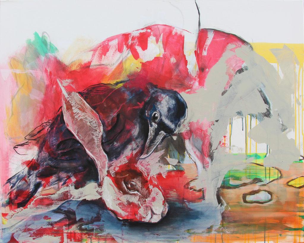 Hase unnd Rabe -  Acryl, Kohle, Kreide auf Leinwand   80 cm x 100 cm