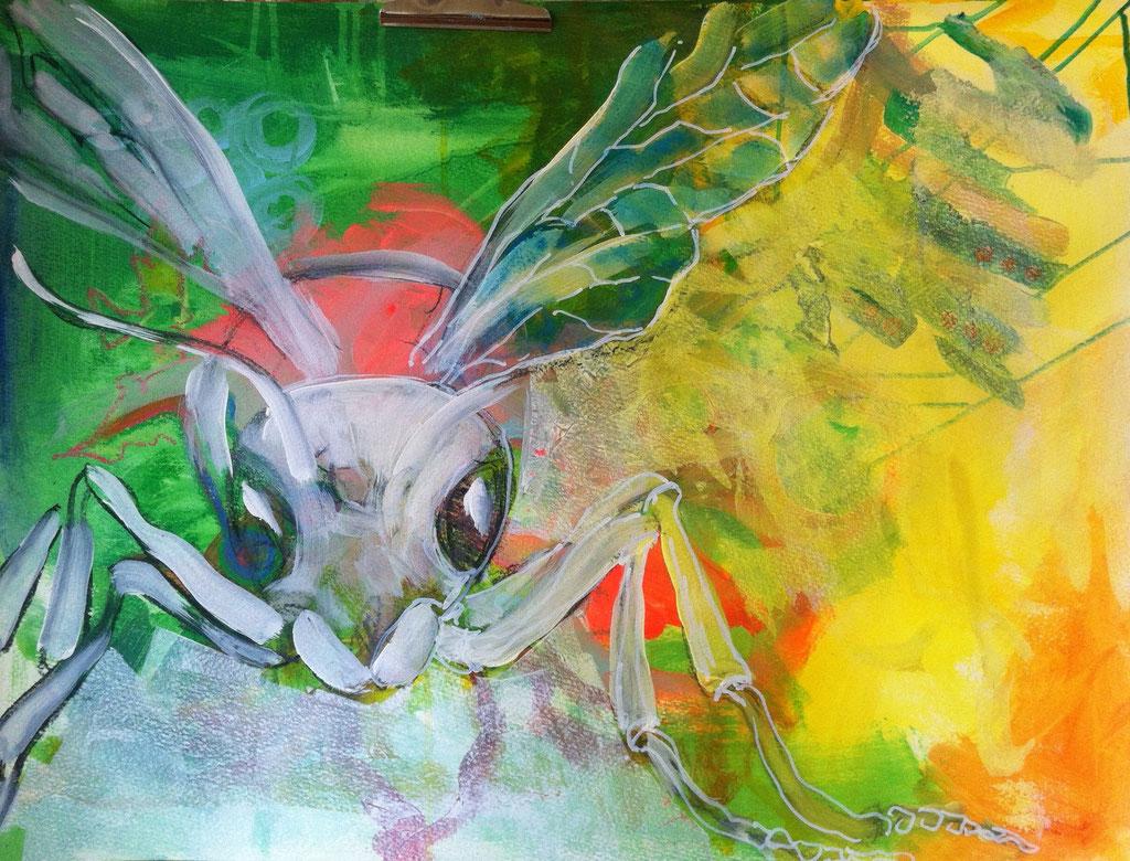 Vespa I -  Mischtechnik auf Acrylkarton   50x65 cm