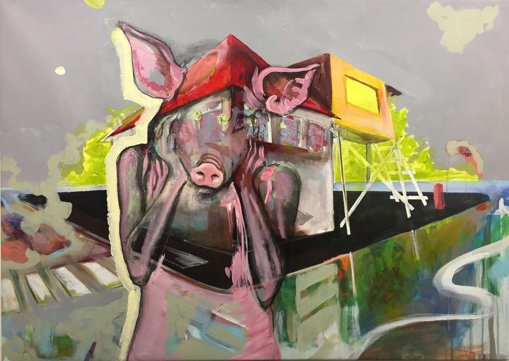 Wo die Wirklichkeit verschwimmt -  Acryl auf Leinwand  100 cm x 140 cm