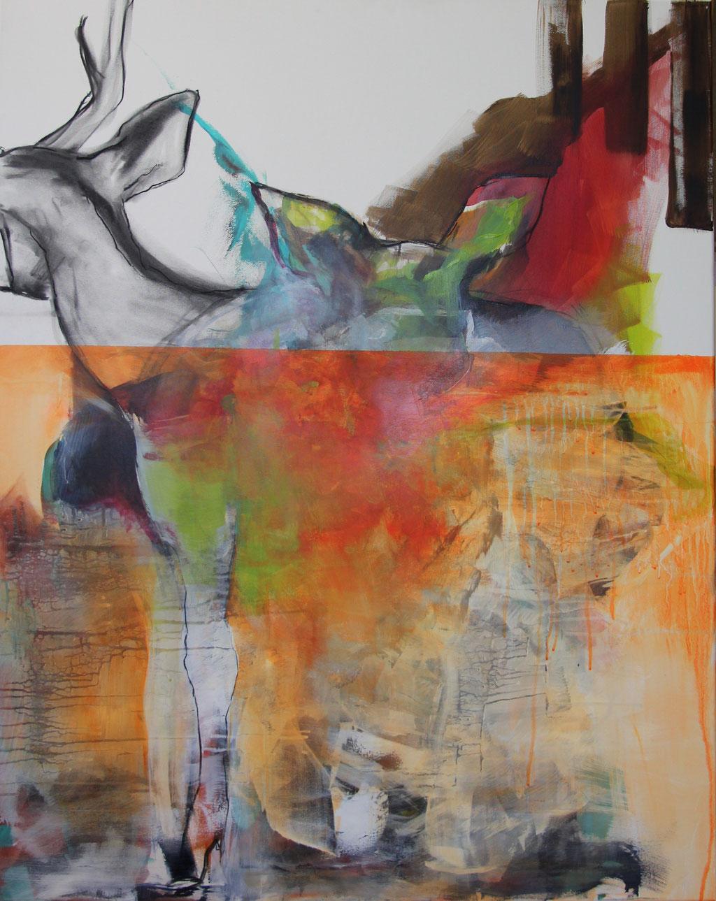o.T. -  Acryl, Kohle, Kreide auf Leinwand   100 cm x 80 cm