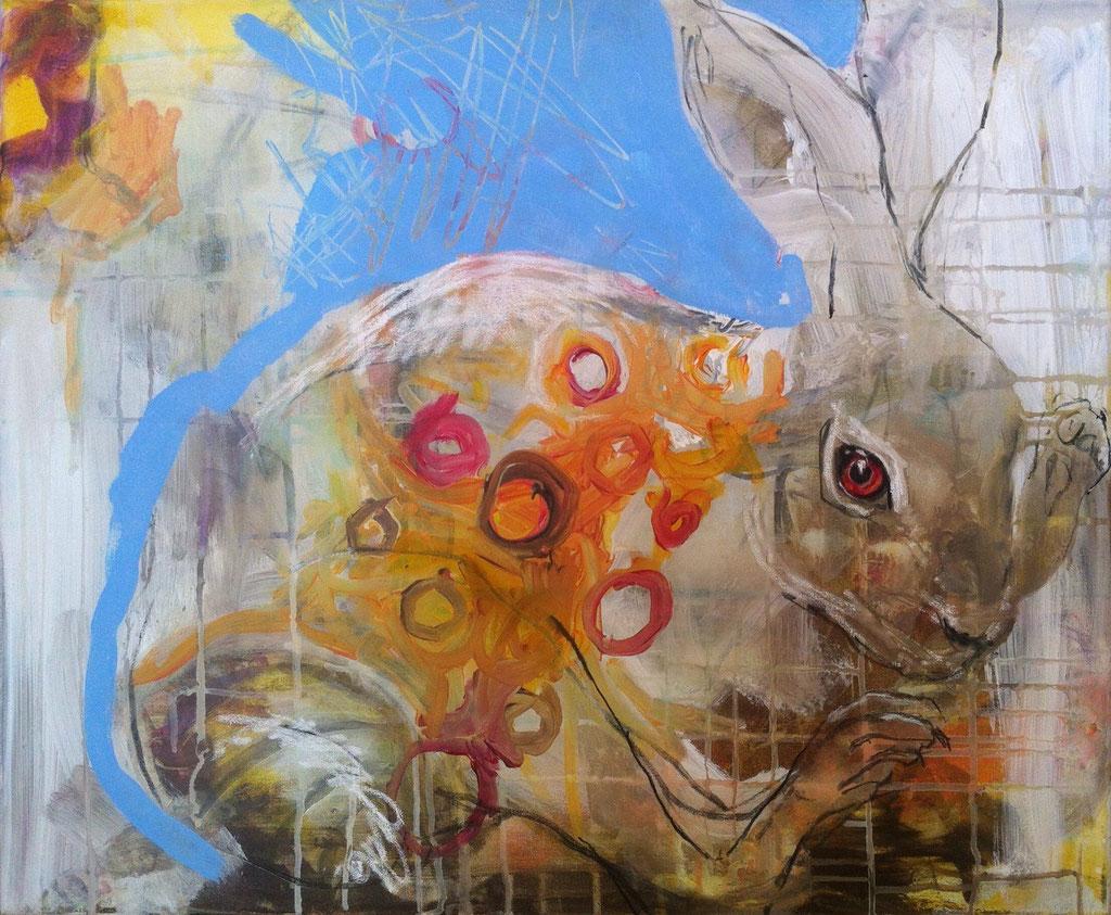 Hase -  Acryl, Kohle, Kreide auf Leinwand   50 cm x 60 cm