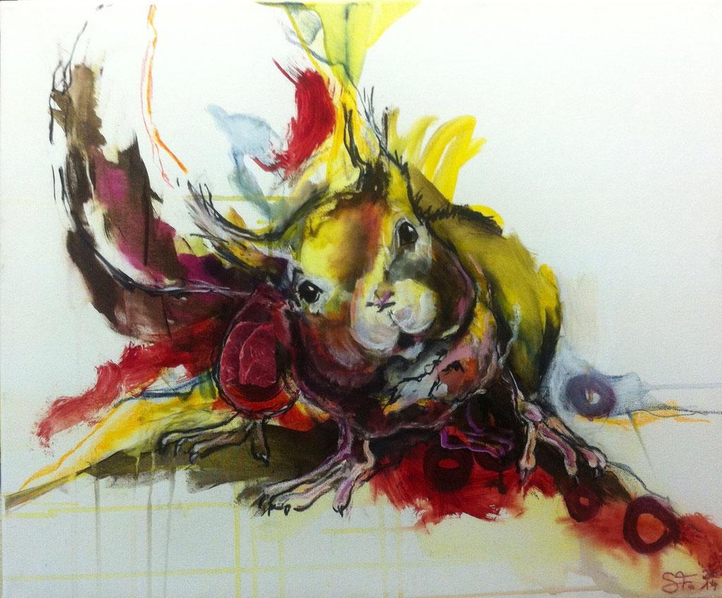 Kuckuck -  Acryl, Kohle auf Leinwand   50 cm x 60 cm