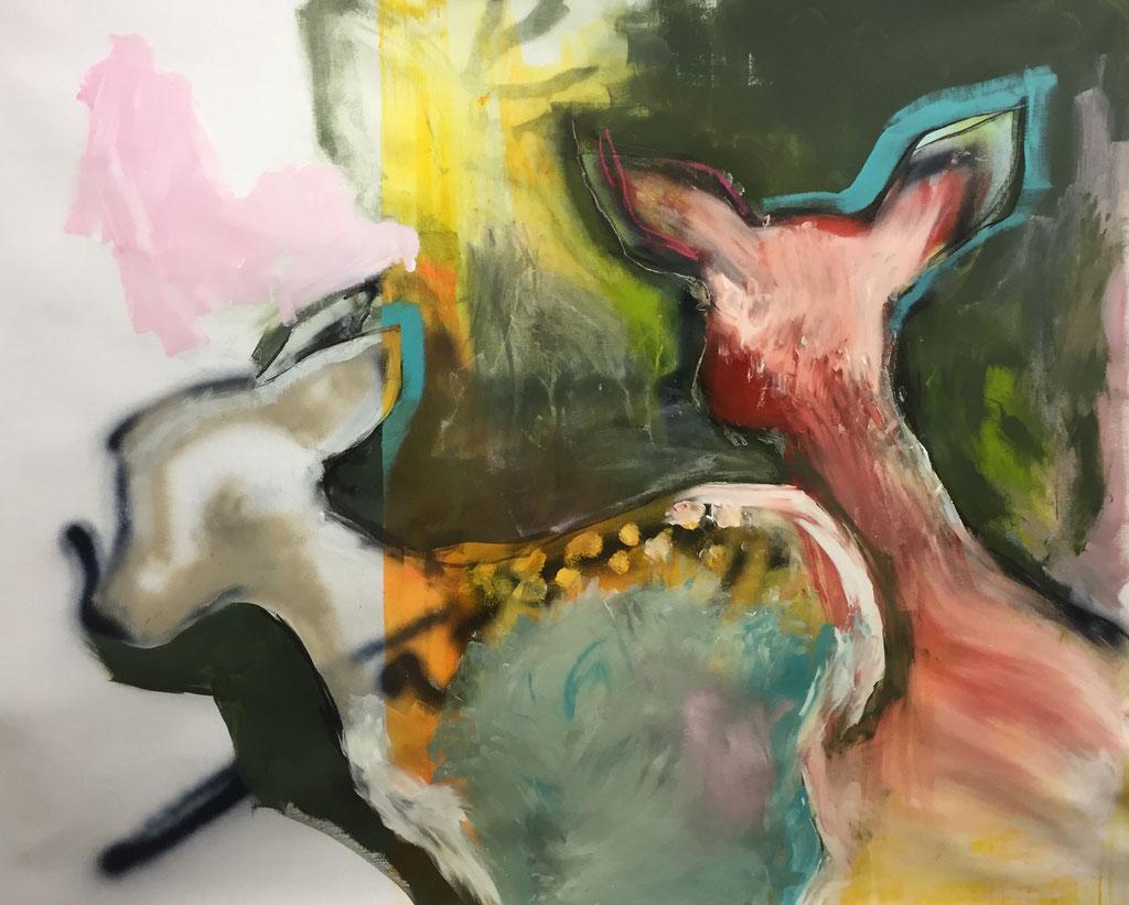 o.T. -  Acryl, Kohle, Kreide auf Leinwand  100 cm x 140 cm