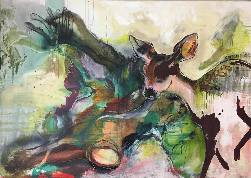 Dickicht -  Acryl, Kohle, Kreide auf Leinwand  100 cm x 140 cm