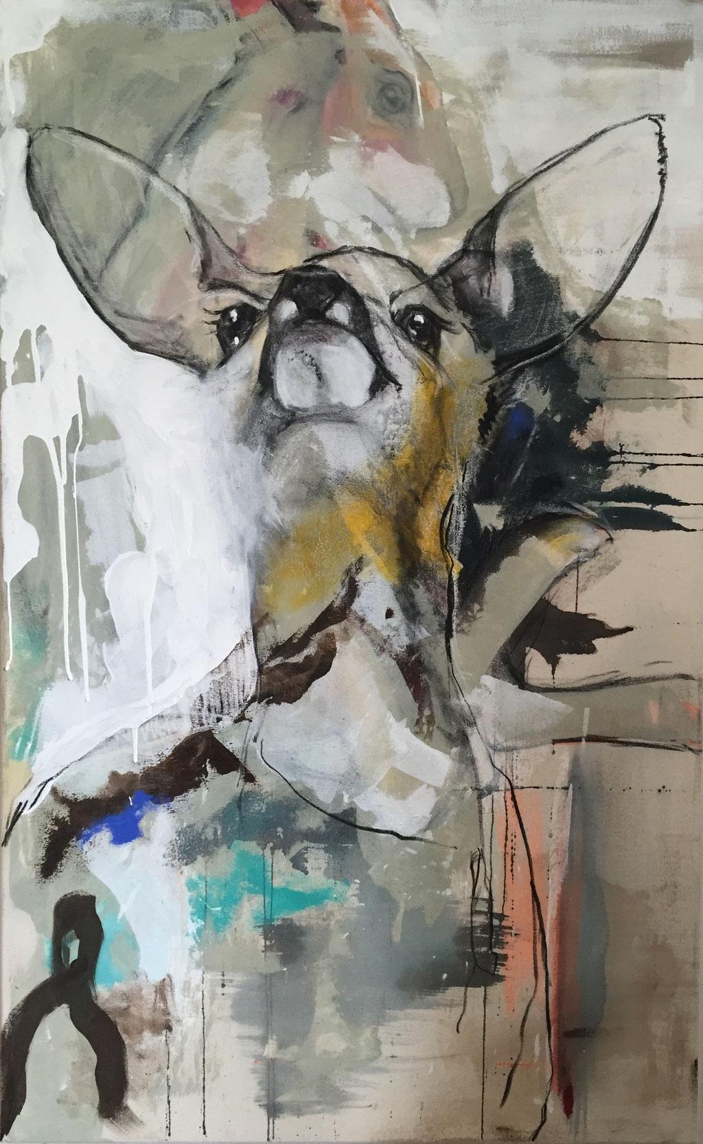 Frag den Hasen -  Acryl, Kohle, Kreide auf Leinwand   105 cm x 65 cm