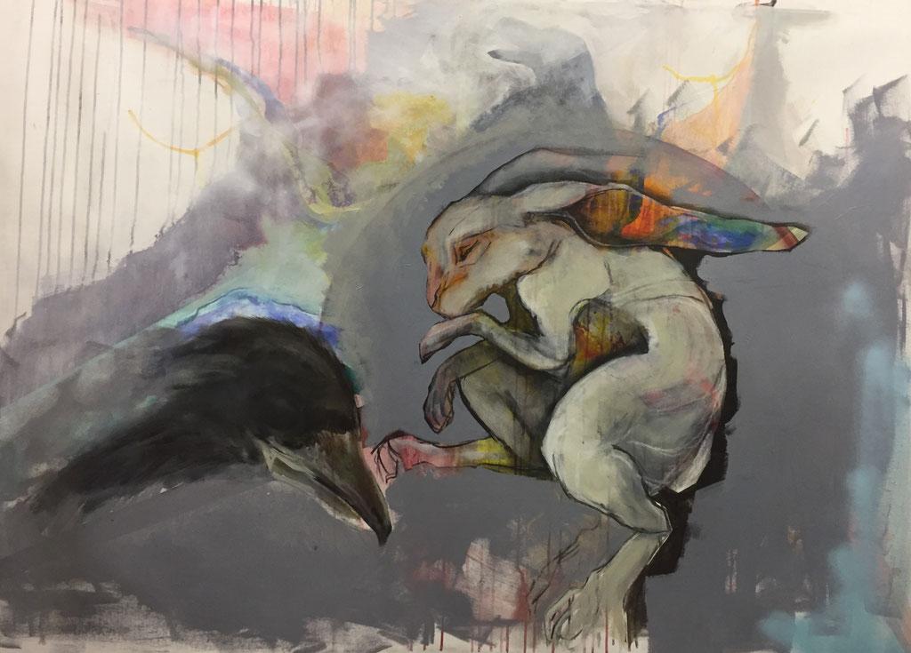 o.T.Zum Abschuss frei -  Acryl auf Leinwand  100 cm x 140 cm