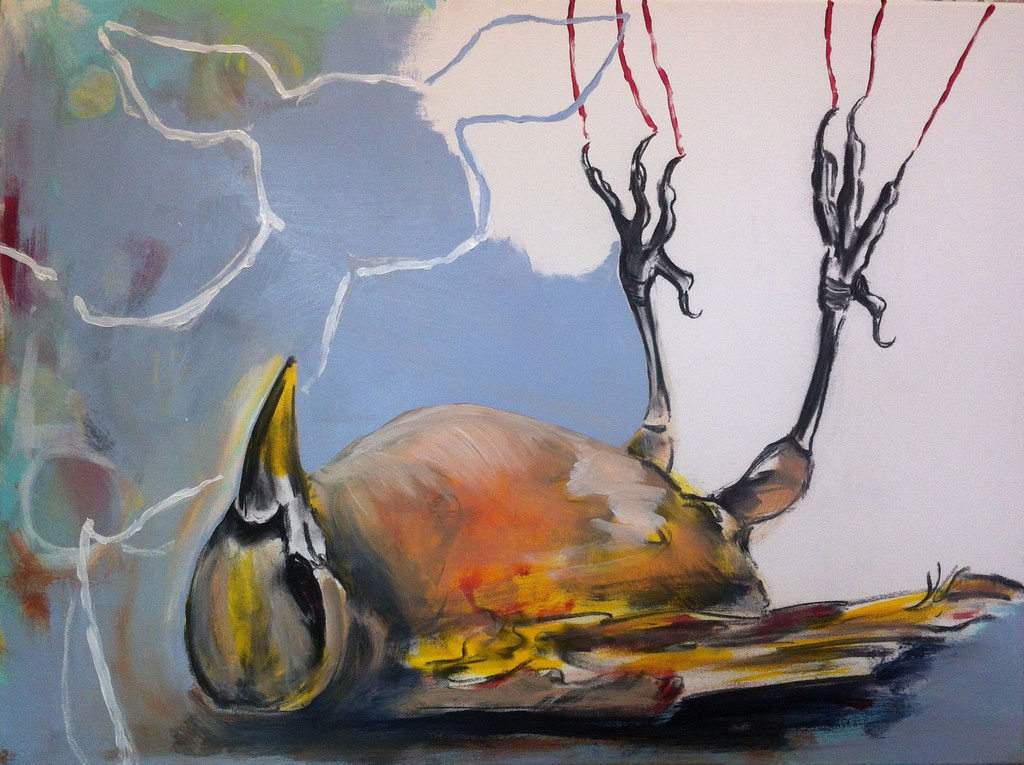 Vogel tot -  Acryl, Kohle, Kreide auf Leinwand   60 cm x 80 cm