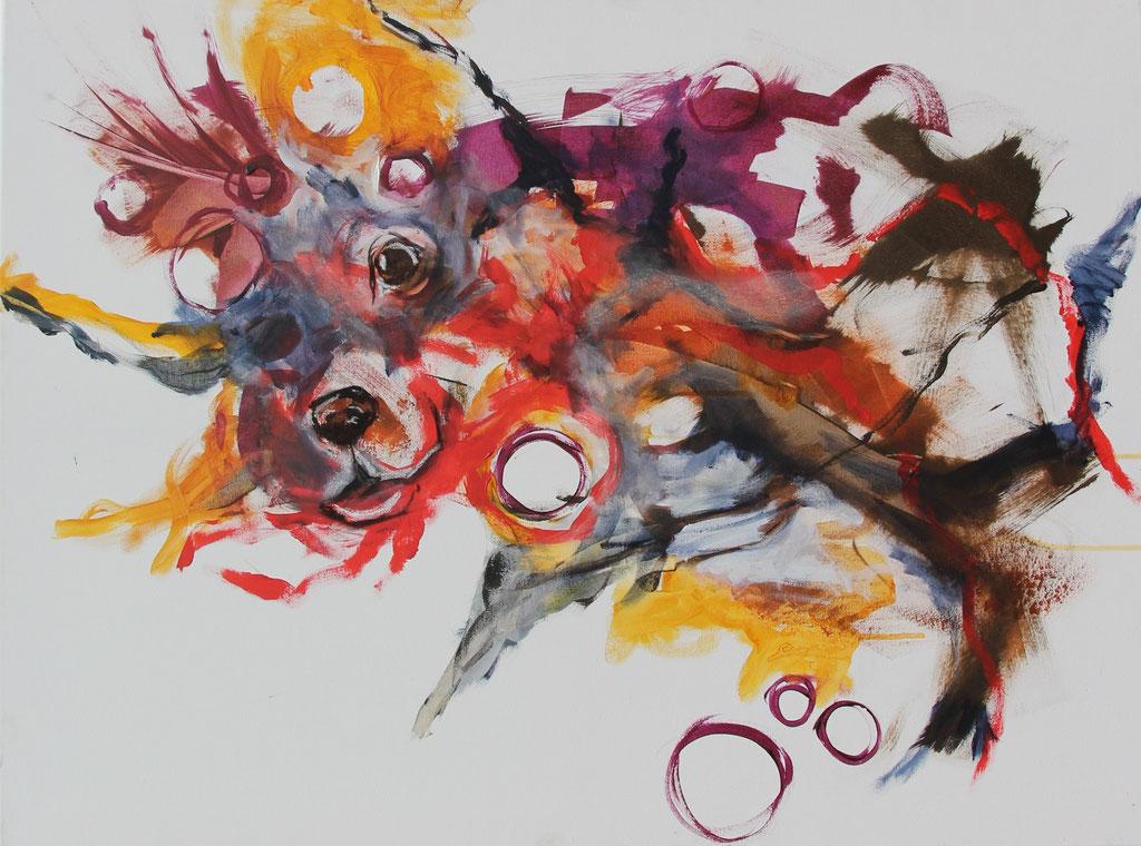 Forschungen eines Hundes II -  Acryl, Kohle, Kreide auf Leinwand  60 cm x 80 cm