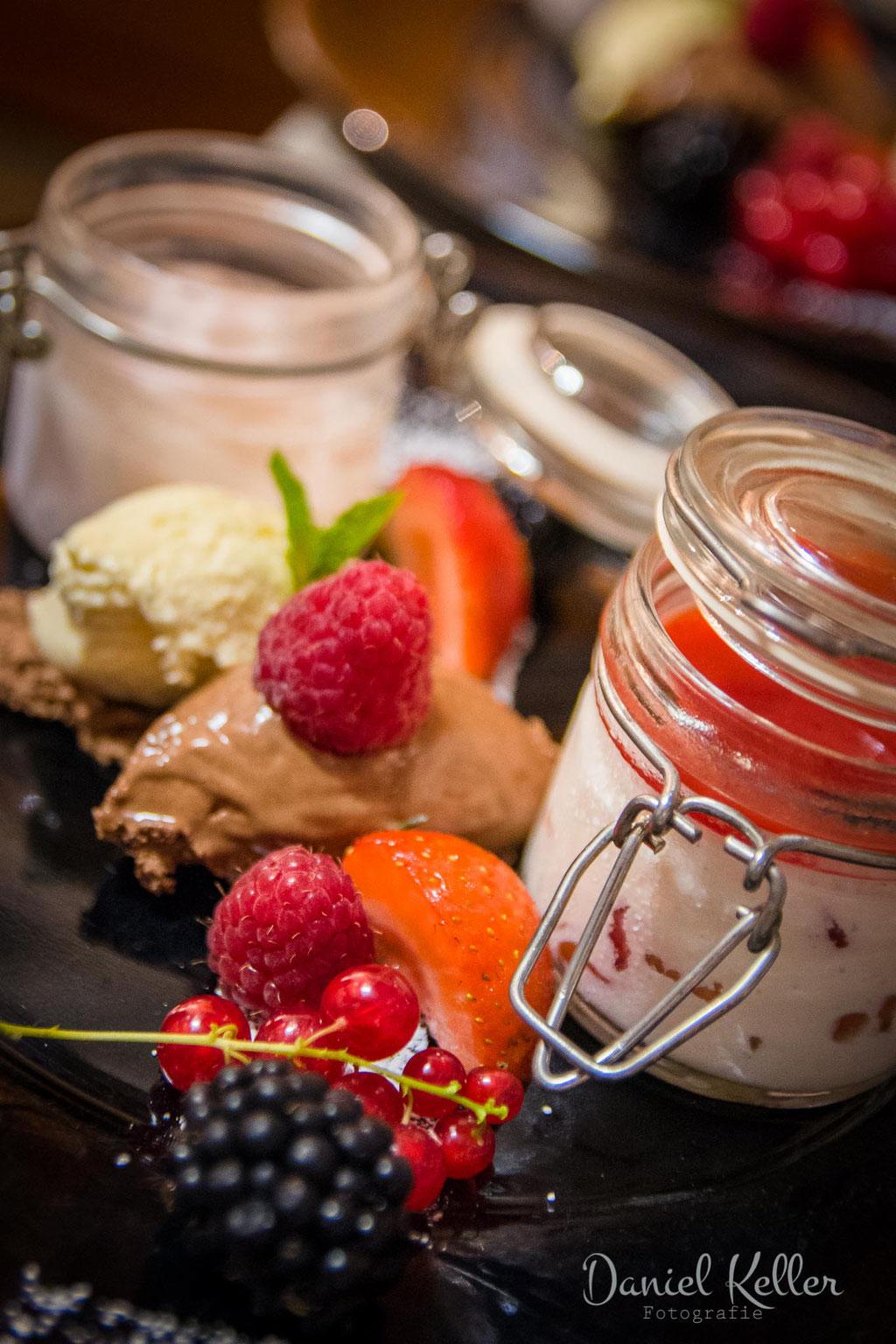 Dessert Hochzeitsmenü / Hochzeitsfotograf Daniel Keller