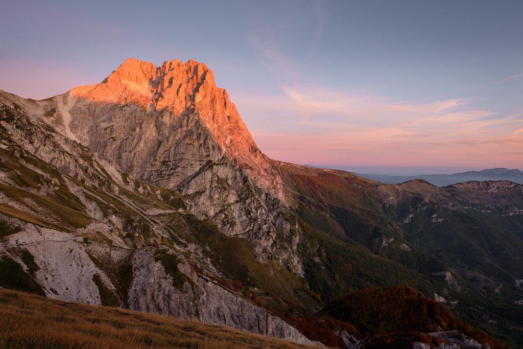 Der Corno Grande imMorgenlicht, gesehen vom Vado di Corno