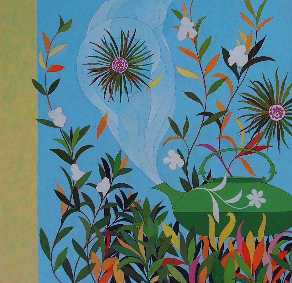 """""""Extasis de la flor del té"""", proyecto pintura mural.  Acrílico sobre tabla. 2017"""
